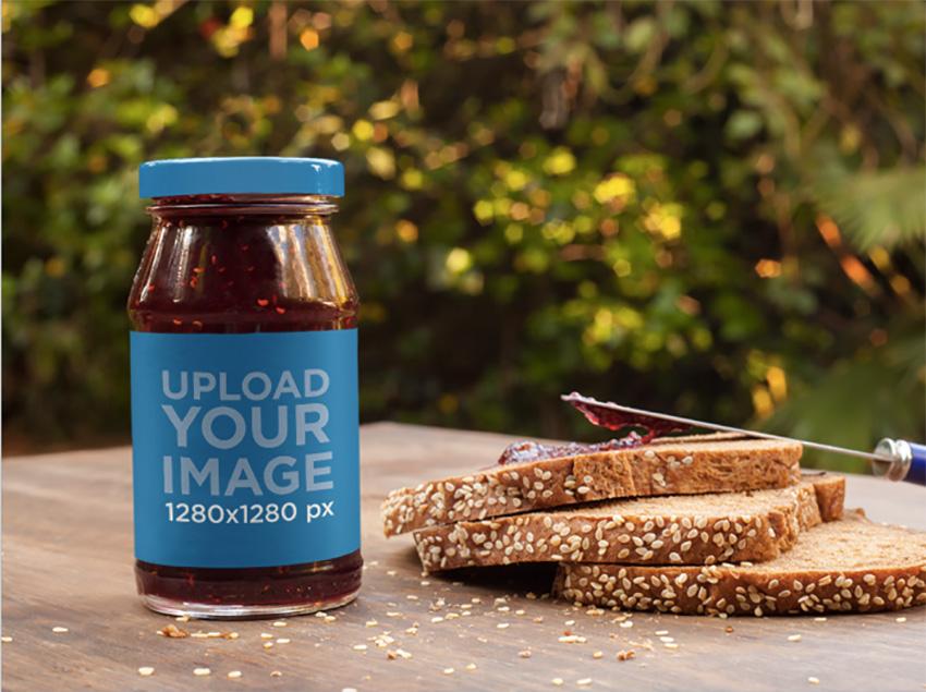 Jar of Marmalade Label Mockup with Fresh Bread