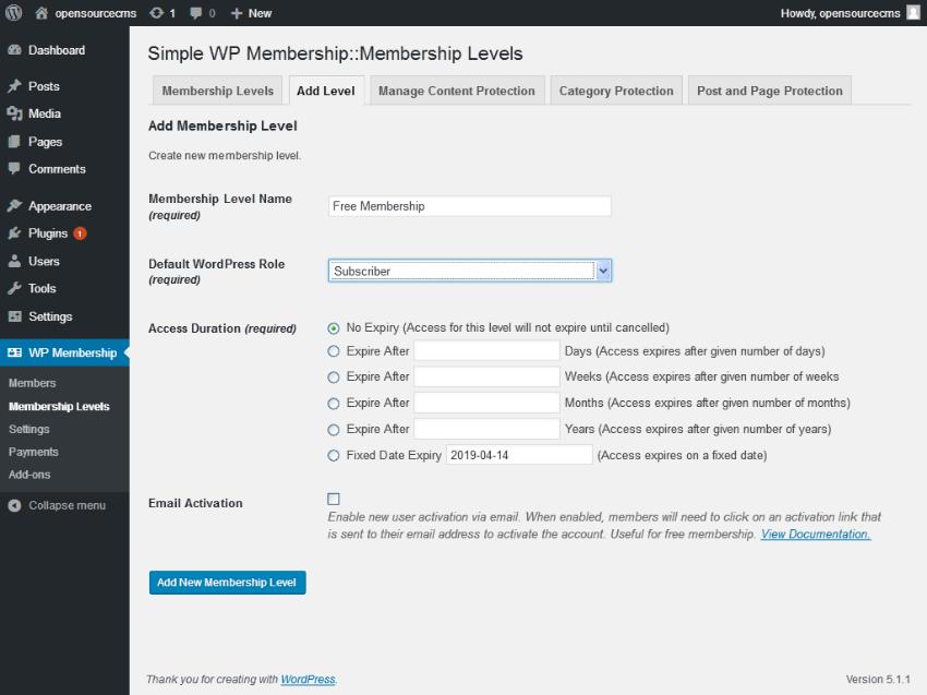Add Free Membership Level