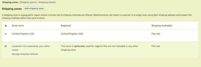 WooCommerce default shipping zones