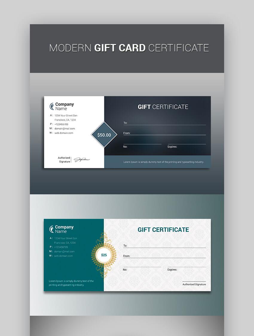 Modern Gift Card Certificate
